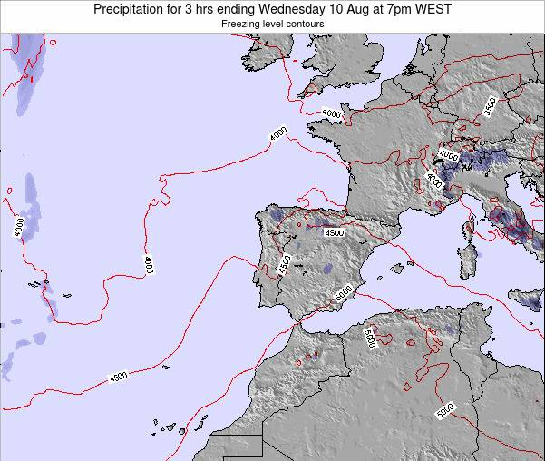 Portugal Precipitation for 3 hrs ending Tuesday 05 Aug at 7pm WEST