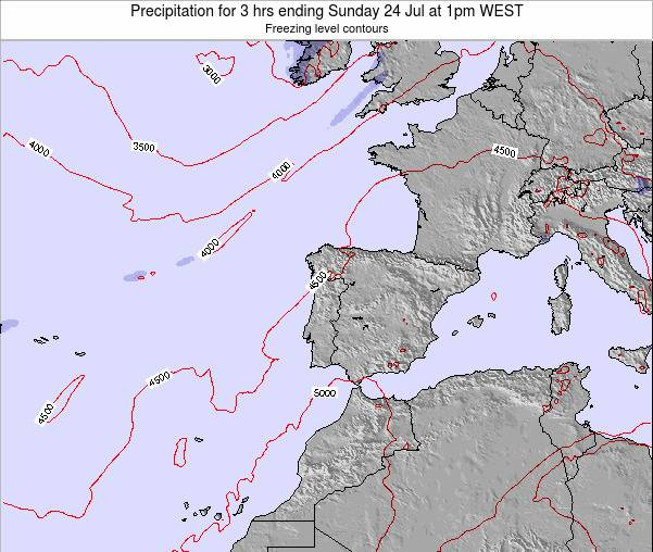 Portugal Precipitation for 3 hrs ending Monday 21 Apr at 7pm WEST