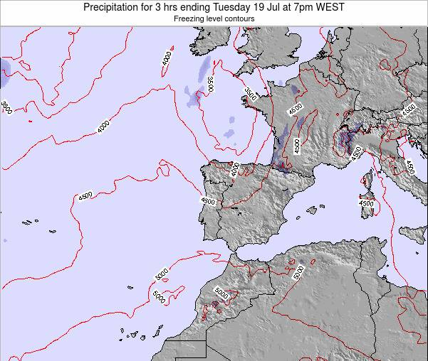 Portugal Precipitation for 3 hrs ending Saturday 23 Aug at 7pm WEST