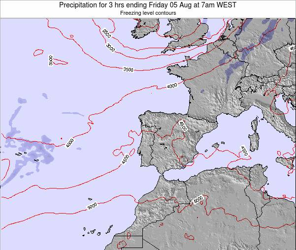 Portugal Precipitation for 3 hrs ending Thursday 24 Apr at 7pm WEST