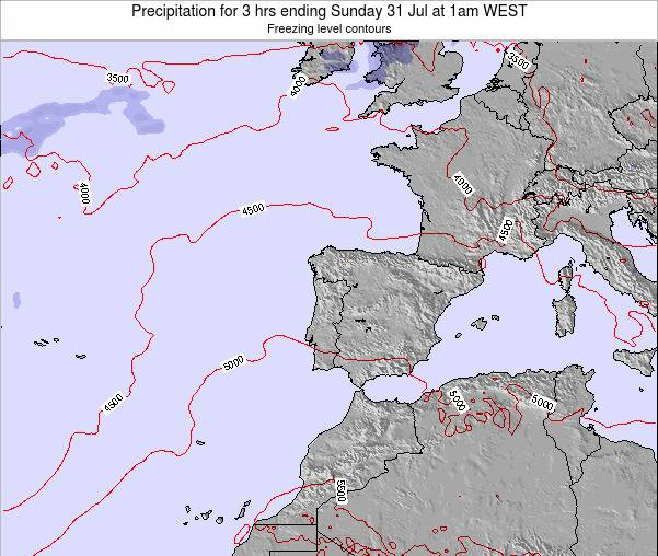 Portugal Precipitation for 3 hrs ending Sunday 27 Jul at 1am WEST