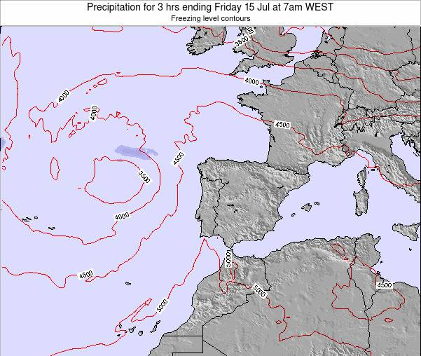 Portugal Precipitation for 3 hrs ending Thursday 31 Jul at 1am WEST