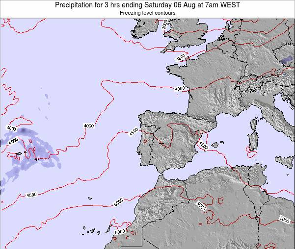 Portugal Precipitation for 3 hrs ending Saturday 25 May at 1pm WEST