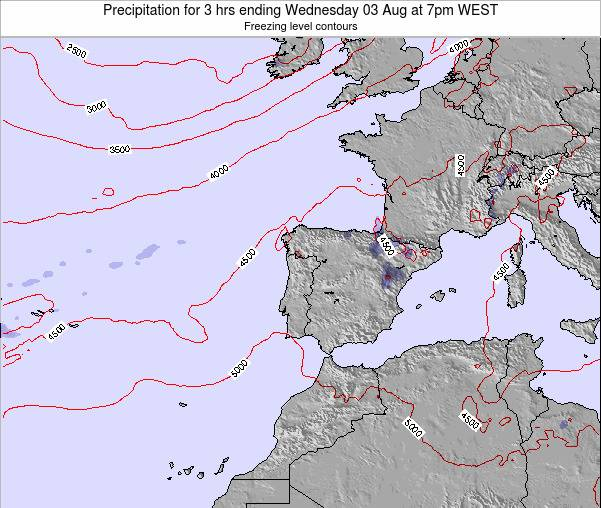 Portugal Precipitation for 3 hrs ending Wednesday 12 Mar at 6am WET