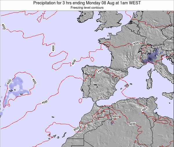 Portugal Precipitation for 3 hrs ending Saturday 07 May at 7pm WEST