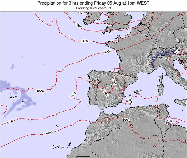 Portugal Precipitation for 3 hrs ending Friday 25 Apr at 1pm WEST