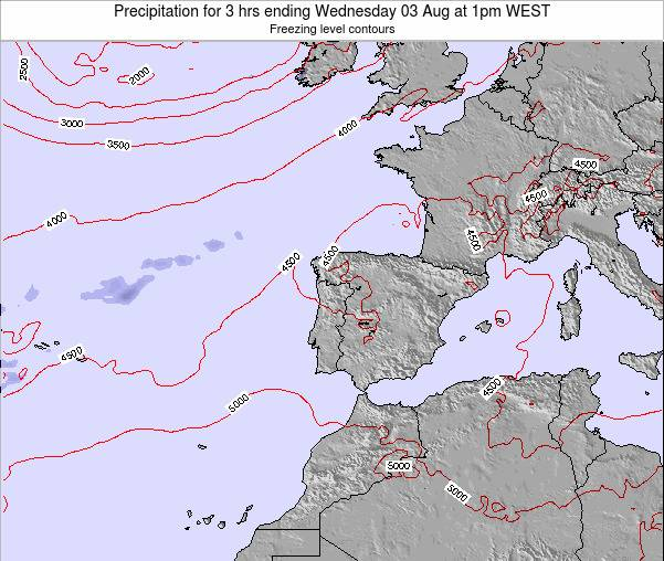 Portugal Precipitation for 3 hrs ending Saturday 25 May at 7pm WEST