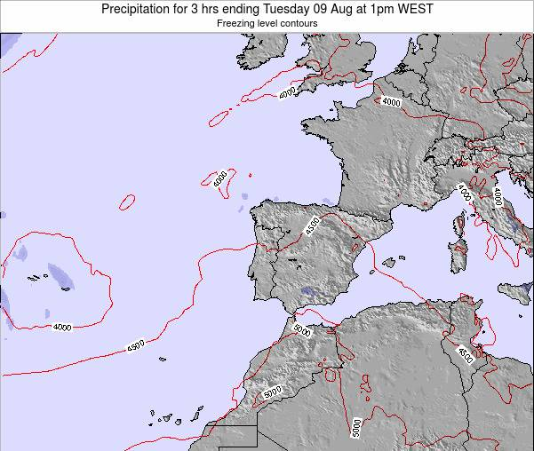 Portugal Precipitation for 3 hrs ending Tuesday 21 May at 1pm WEST map