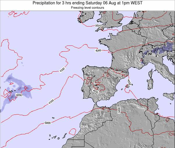Portugal Precipitation for 3 hrs ending Wednesday 12 Mar at 12am WET