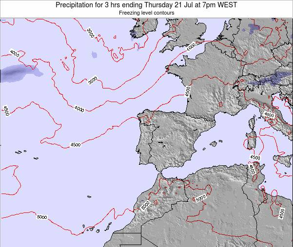 Portugal Precipitation for 3 hrs ending Thursday 14 Dec at 6am WET map