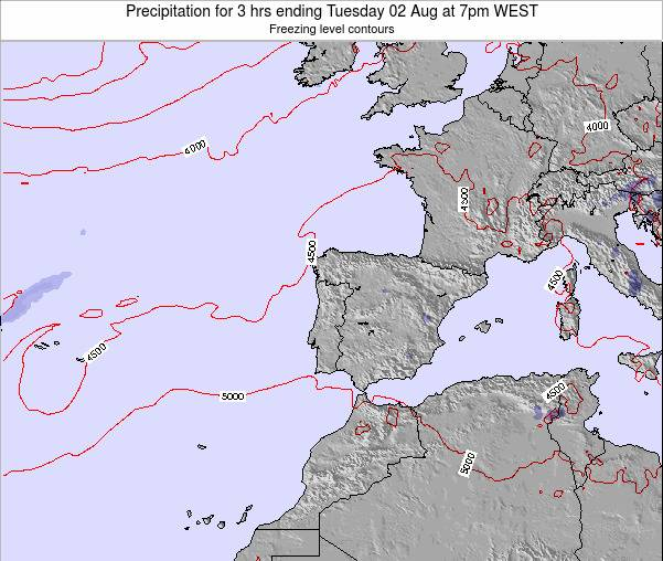 Portugal Precipitation for 3 hrs ending Tuesday 19 Dec at 6pm WET map
