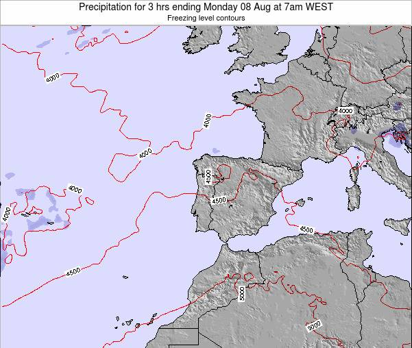 Portugal Precipitation for 3 hrs ending Thursday 20 Jun at 1pm WEST map