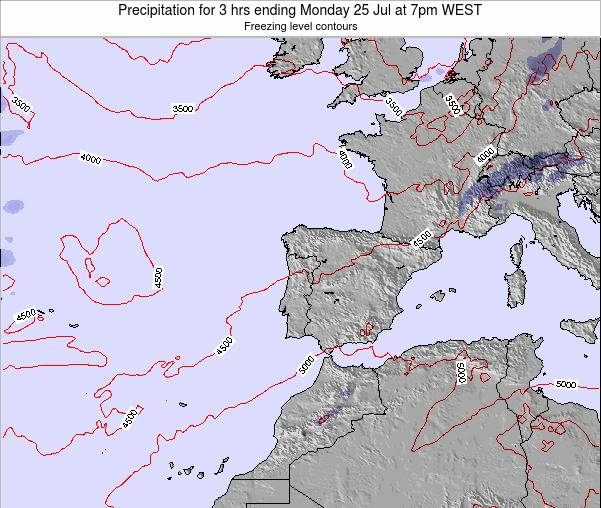 Portugal Precipitation for 3 hrs ending Monday 21 Apr at 1am WEST
