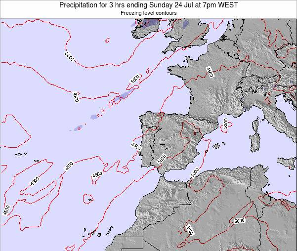 Portugal Precipitation for 3 hrs ending Monday 23 Oct at 7am WEST