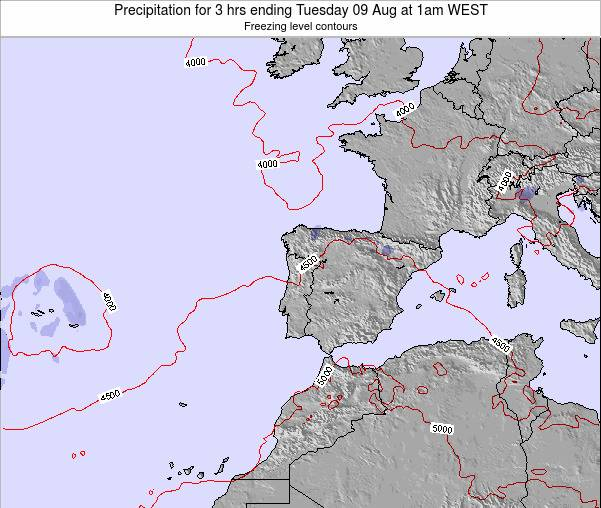 Portugal Precipitation for 3 hrs ending Friday 25 Apr at 7pm WEST