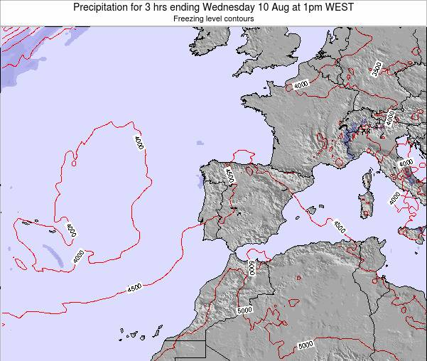 Portugal Precipitation for 3 hrs ending Saturday 30 Aug at 1pm WEST