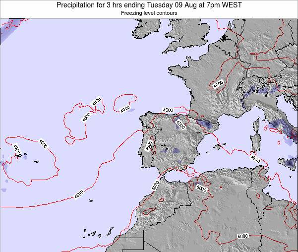 Portugal Precipitation for 3 hrs ending Wednesday 22 May at 7pm WEST