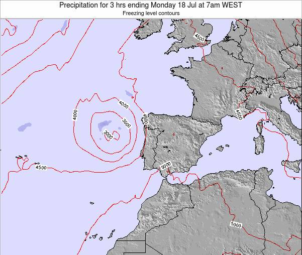 Portugal Precipitation for 3 hrs ending Monday 03 Aug at 1pm WEST