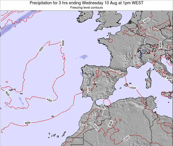 Portugal Precipitation for 3 hrs ending Tuesday 11 Mar at 12am WET