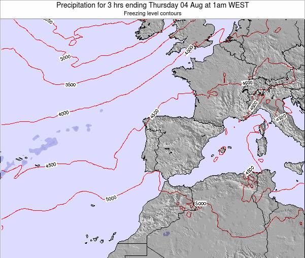 Portugal Precipitation for 3 hrs ending Saturday 26 Apr at 7pm WEST