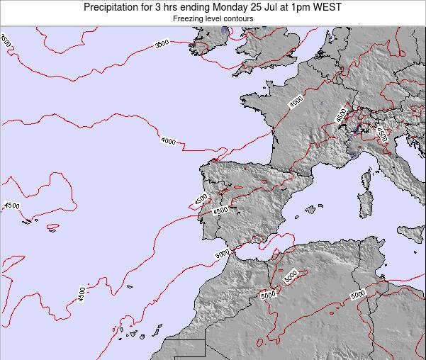 Portugal Precipitation for 3 hrs ending Wednesday 23 Apr at 7am WEST