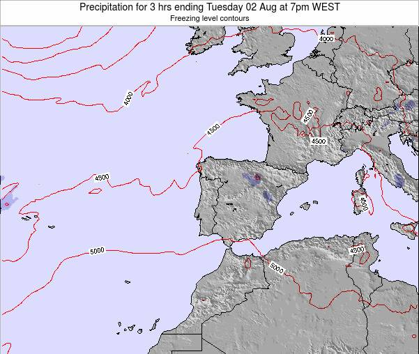 Portugal Precipitation for 3 hrs ending Saturday 02 Aug at 7pm WEST