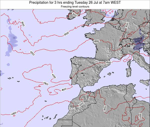 Portugal Precipitation for 3 hrs ending Saturday 22 Jun at 1am WEST map