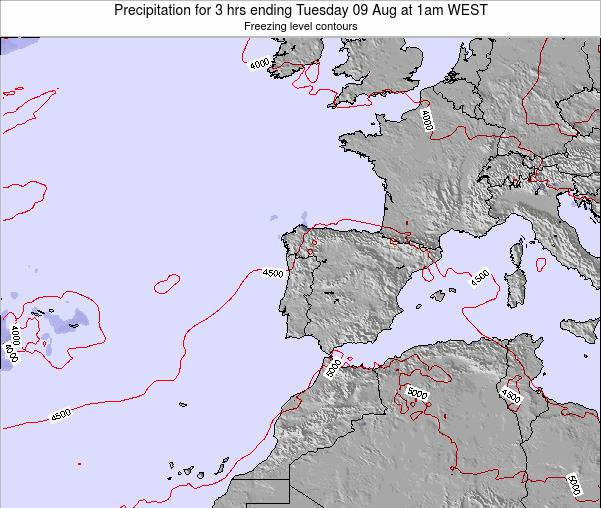 Portugal Precipitation for 3 hrs ending Saturday 26 Apr at 1pm WEST