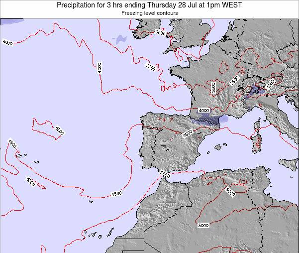 Portugal Precipitation for 3 hrs ending Tuesday 29 Jul at 1pm WEST