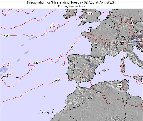 Portugal Precipitation for 3 hrs ending Wednesday 12 Mar at 12pm WET