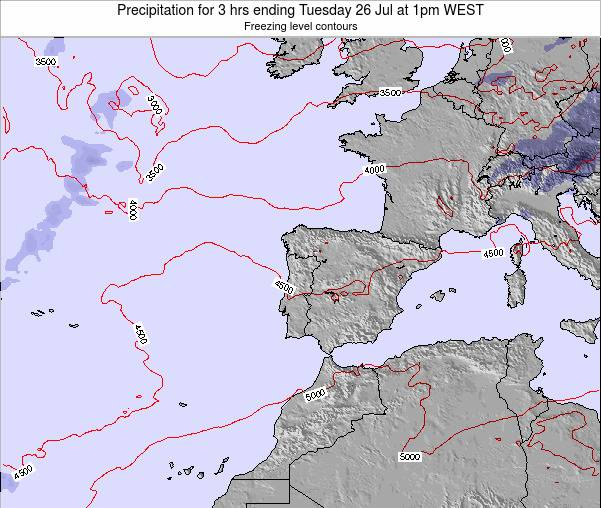 Portugal Precipitation for 3 hrs ending Saturday 22 Jun at 7pm WEST