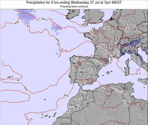Portugal Precipitation for 3 hrs ending Monday 21 Apr at 1pm WEST