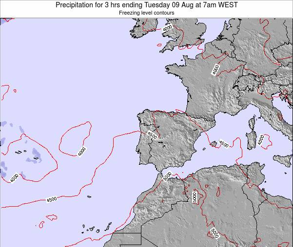 Portugal Precipitation for 3 hrs ending Saturday 15 Mar at 6pm WET