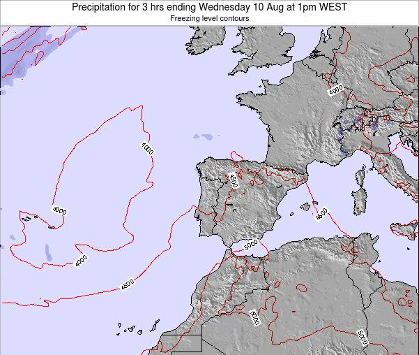 Portugal Precipitation for 3 hrs ending Friday 13 Dec at 6am WET
