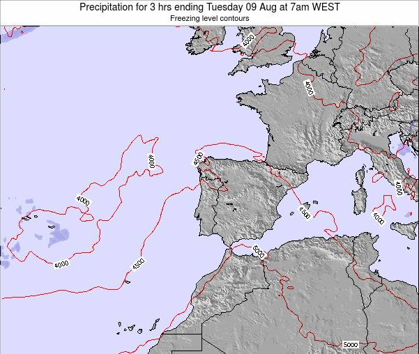 Portugal Precipitation for 3 hrs ending Monday 28 Apr at 7pm WEST map