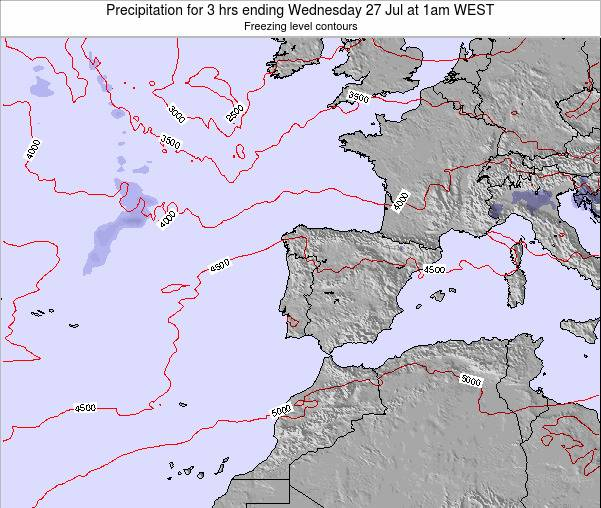 Portugal Precipitation for 3 hrs ending Monday 21 Apr at 1am WEST map