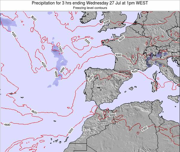 Portugal Precipitation for 3 hrs ending Thursday 13 Mar at 12am WET map
