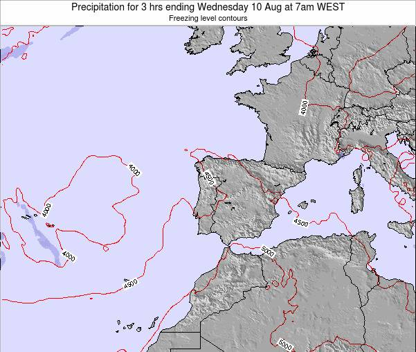 Portugal Precipitation for 3 hrs ending Friday 01 Aug at 1pm WEST map