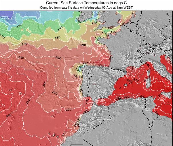 Portugal Sea Temperature Map