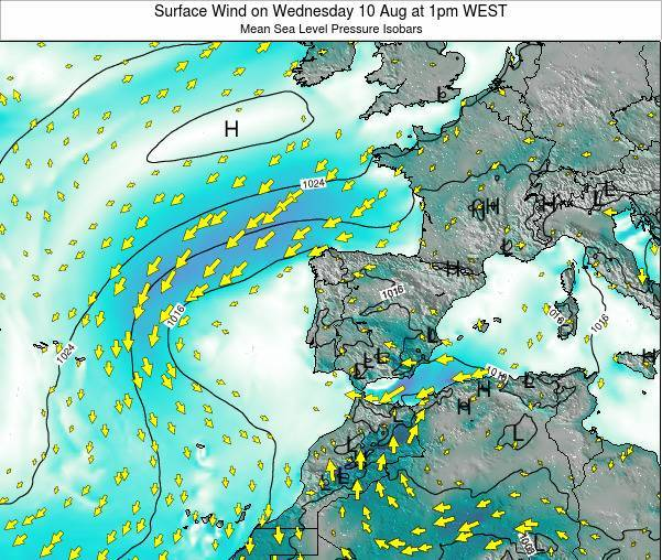 Portugal Surface Wind on Sunday 16 Mar at 6pm WET