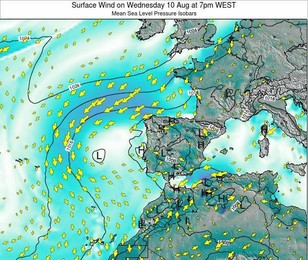 Portugal Surface Wind on Monday 07 Sep at 1pm WEST