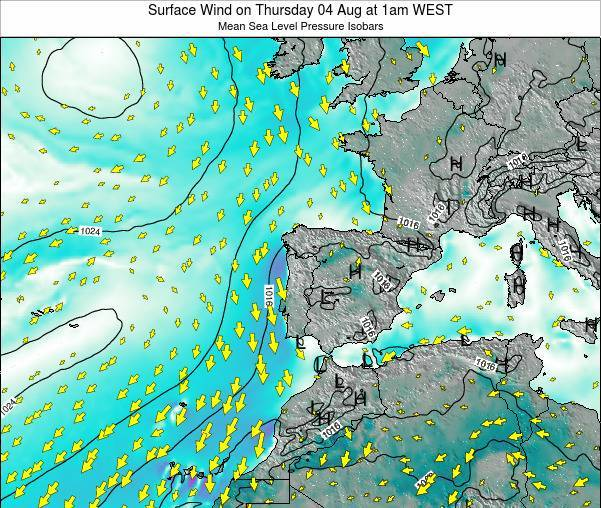 Portugal Surface Wind on Sunday 20 Apr at 7am WEST