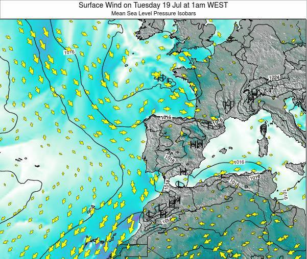 Portugal Surface Wind on Tuesday 31 May at 7pm WEST