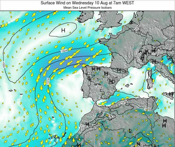 Portugal Surface Wind on Wednesday 22 May at 7pm WEST