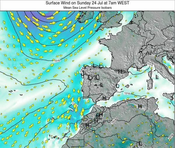 Portugal Surface Wind on Saturday 26 Jul at 7pm WEST