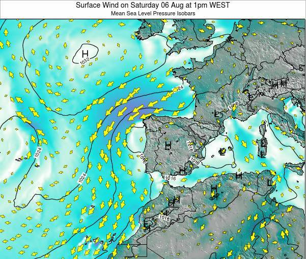 Portugal Surface Wind on Friday 13 Dec at 6pm WET