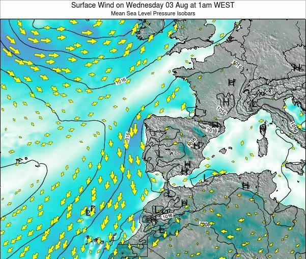 Portugal Surface Wind on Saturday 01 Nov at 1am WEST