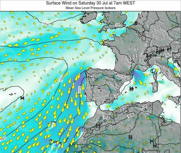 Portugal Surface Wind on Wednesday 30 Apr at 7pm WEST
