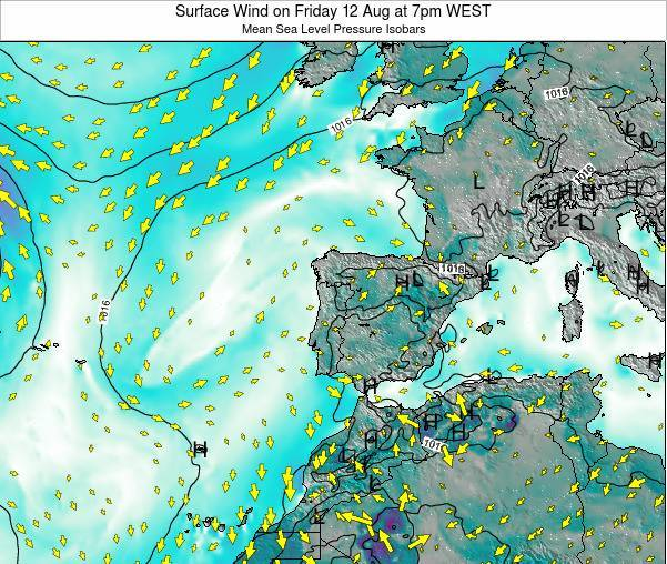 Portugal Surface Wind on Tuesday 10 Mar at 12am WET