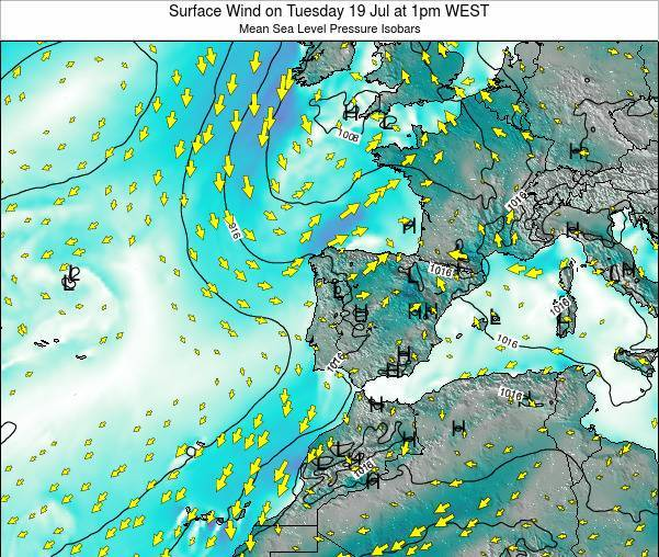 Portugal Surface Wind on Monday 17 Mar at 12am WET